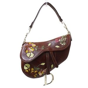 Authentic Dior Leather Flower Saddle Shoulder Bag